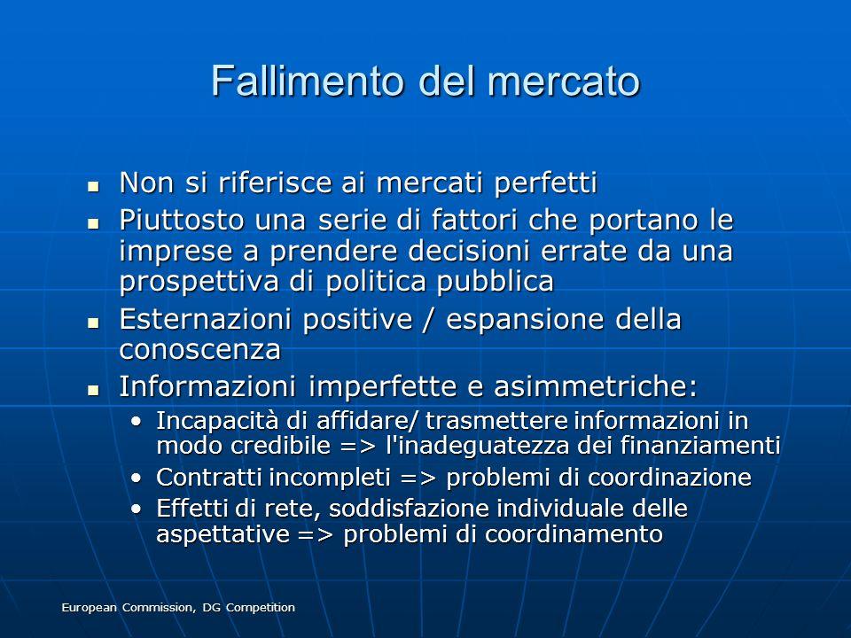 European Commission, DG Competition Fallimento del mercato Non si riferisce ai mercati perfetti Non si riferisce ai mercati perfetti Piuttosto una ser