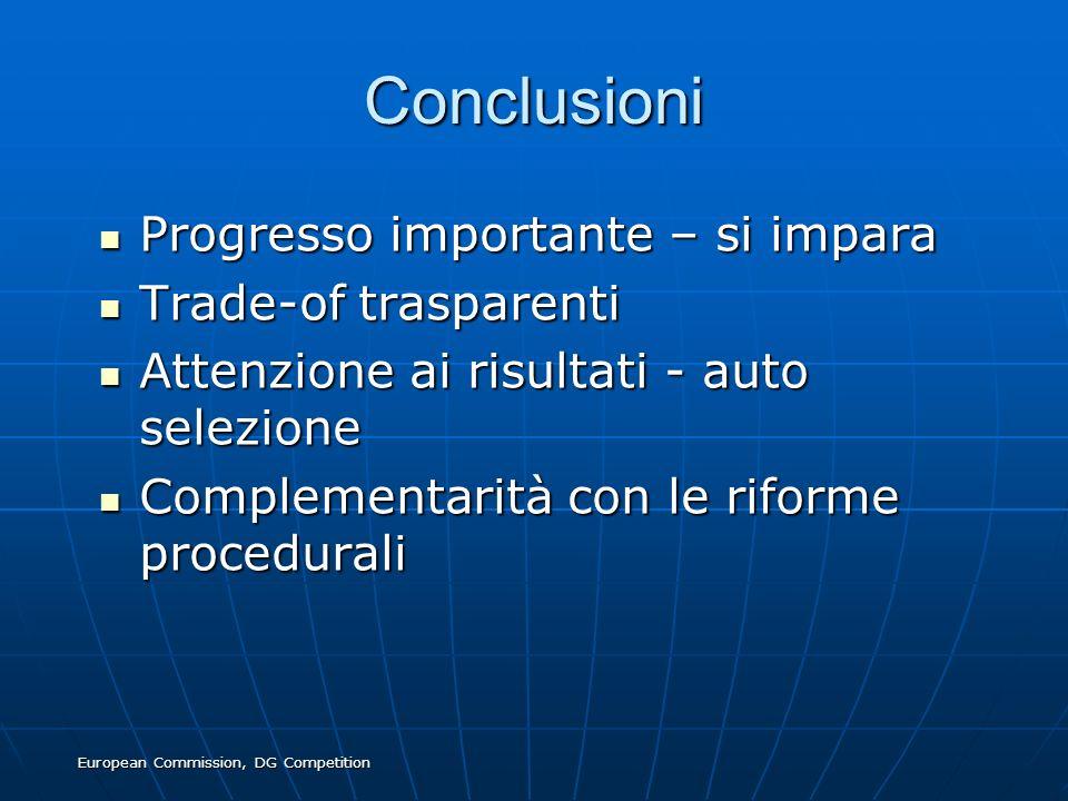 European Commission, DG Competition Conclusioni Progresso importante – si impara Progresso importante – si impara Trade-of trasparenti Trade-of traspa