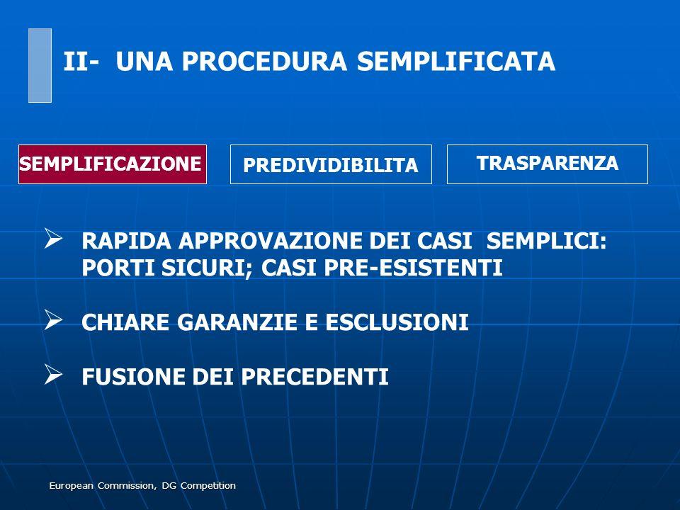 European Commission, DG Competition RAPIDA APPROVAZIONE DEI CASI SEMPLICI: PORTI SICURI; CASI PRE-ESISTENTI CHIARE GARANZIE E ESCLUSIONI FUSIONE DEI P