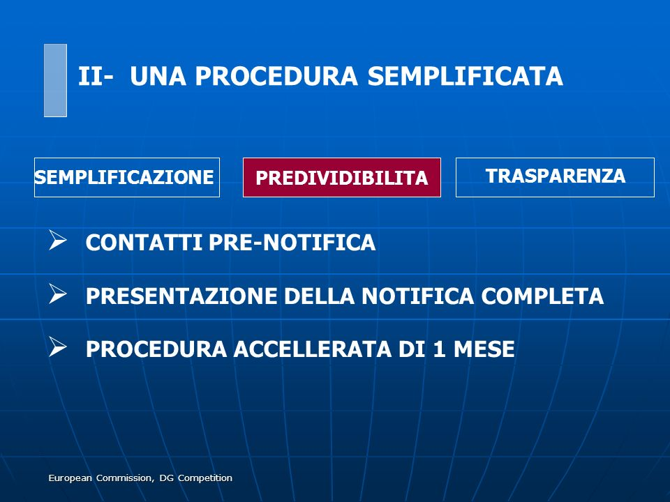European Commission, DG Competition CONTATTI PRE-NOTIFICA PRESENTAZIONE DELLA NOTIFICA COMPLETA PROCEDURA ACCELLERATA DI 1 MESE SEMPLIFICAZIONE PREDIV