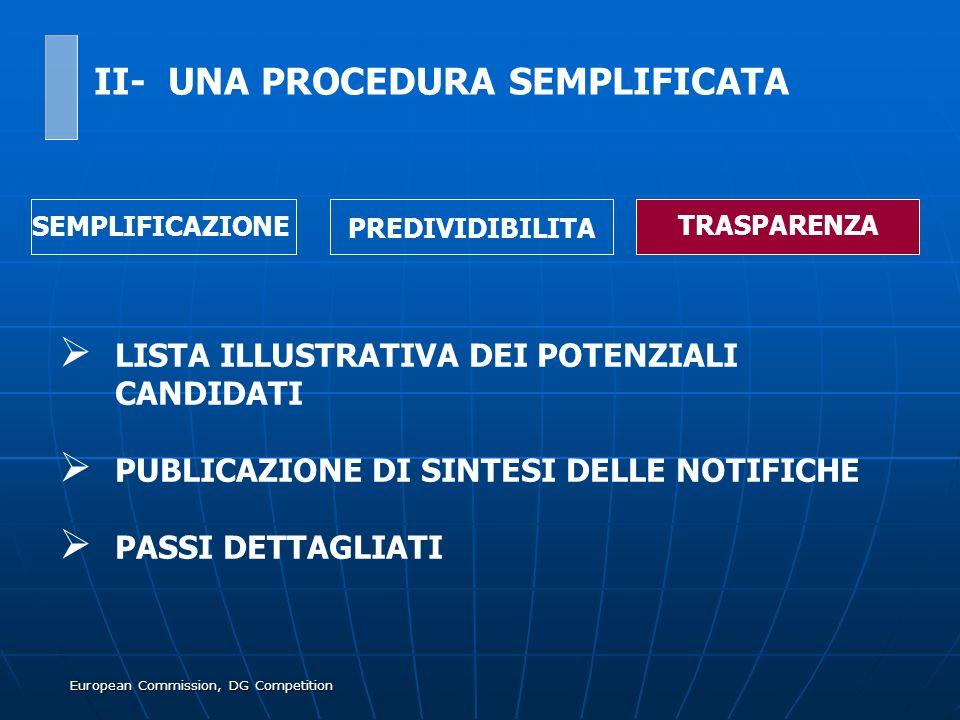 European Commission, DG Competition LISTA ILLUSTRATIVA DEI POTENZIALI CANDIDATI PUBLICAZIONE DI SINTESI DELLE NOTIFICHE PASSI DETTAGLIATI SEMPLIFICAZI
