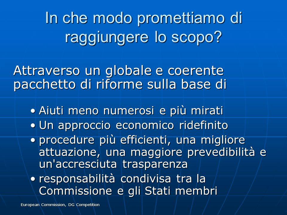 European Commission, DG Competition In che modo promettiamo di raggiungere lo scopo? Attraverso un globale e coerente pacchetto di riforme sulla base