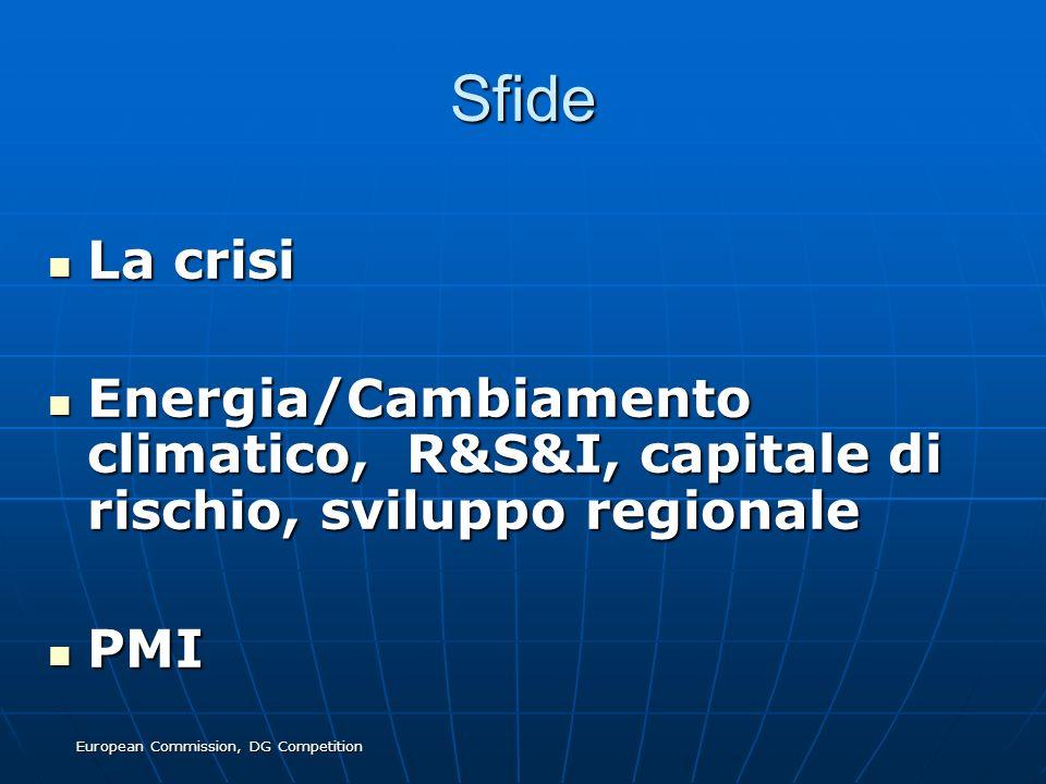 European Commission, DG Competition Sfide La crisi La crisi Energia/Cambiamento climatico, R&S&I, capitale di rischio, sviluppo regionale Energia/Camb