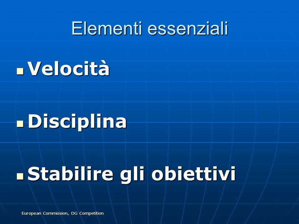 European Commission, DG Competition Elementi essenziali Velocità Velocità Disciplina Disciplina Stabilire gli obiettivi Stabilire gli obiettivi