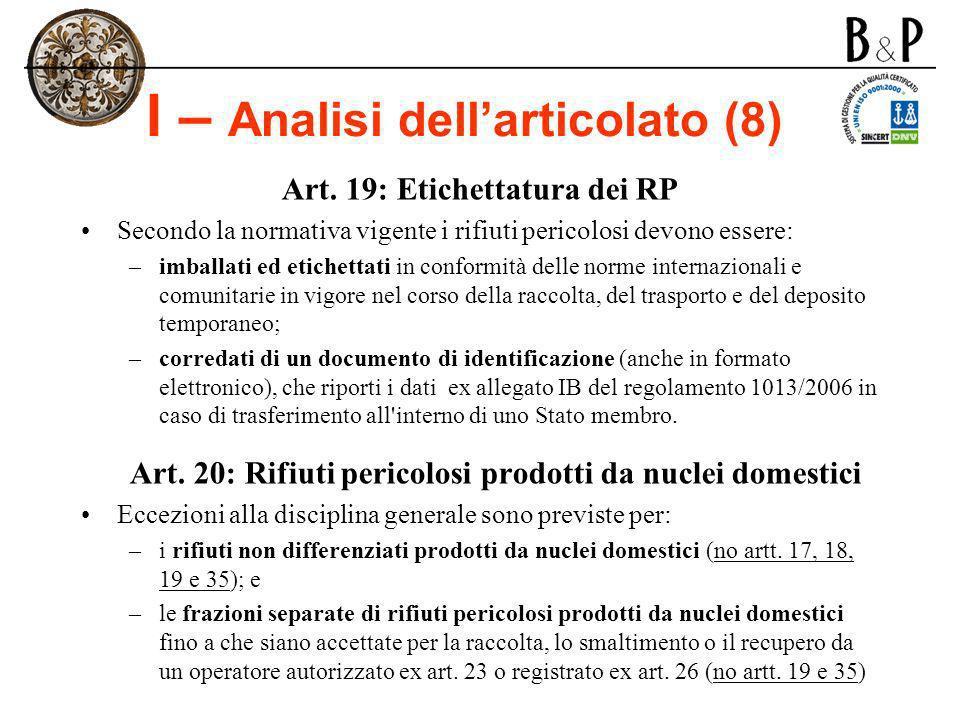 I – Analisi dellarticolato (8) Art. 19: Etichettatura dei RP Secondo la normativa vigente i rifiuti pericolosi devono essere: –imballati ed etichettat
