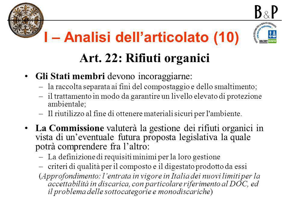 I – Analisi dellarticolato (10) Art. 22: Rifiuti organici Gli Stati membri devono incoraggiarne: –la raccolta separata ai fini del compostaggio e dell