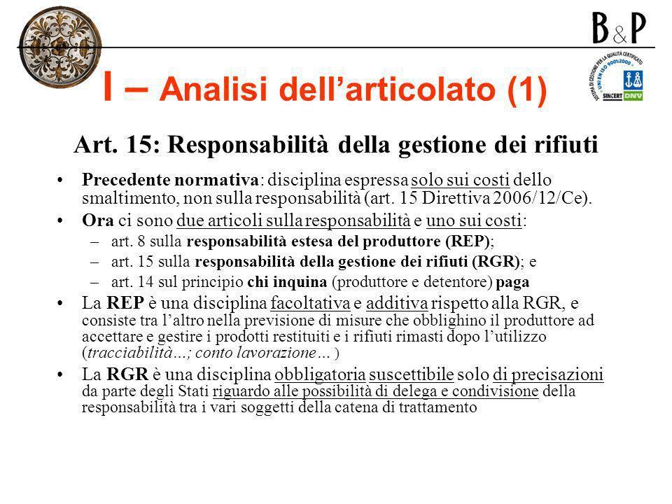 I – Analisi dellarticolato (1) Art. 15: Responsabilità della gestione dei rifiuti Precedente normativa: disciplina espressa solo sui costi dello smalt