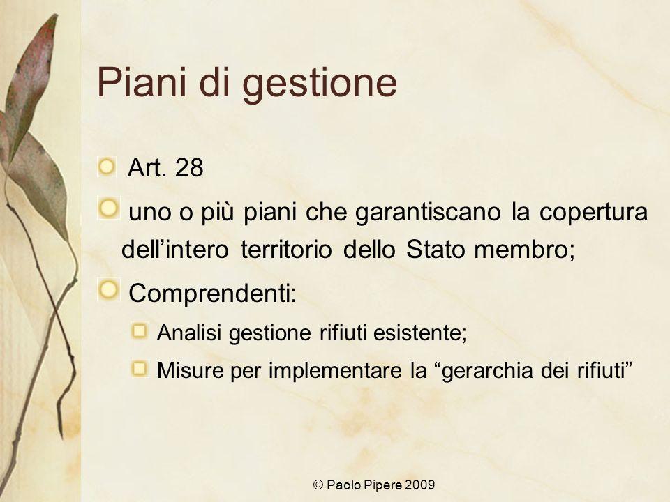 © Paolo Pipere 2009 Piani di gestione Art. 28 uno o più piani che garantiscano la copertura dellintero territorio dello Stato membro; Comprendenti: An