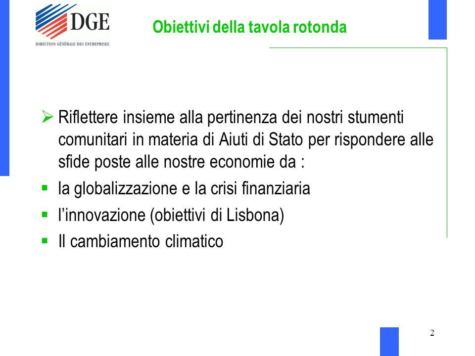 2 Obiettivi della tavola rotonda Riflettere insieme alla pertinenza dei nostri stumenti comunitari in materia di Aiuti di Stato per rispondere alle sfide poste alle nostre economie da : la globalizzazione e la crisi finanziaria linnovazione (obiettivi di Lisbona) Il cambiamento climatico