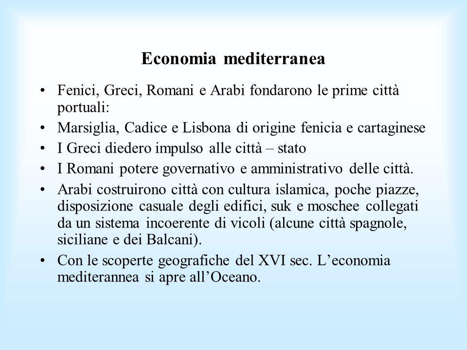 Economia mediterranea Fenici, Greci, Romani e Arabi fondarono le prime città portuali: Marsiglia, Cadice e Lisbona di origine fenicia e cartaginese I