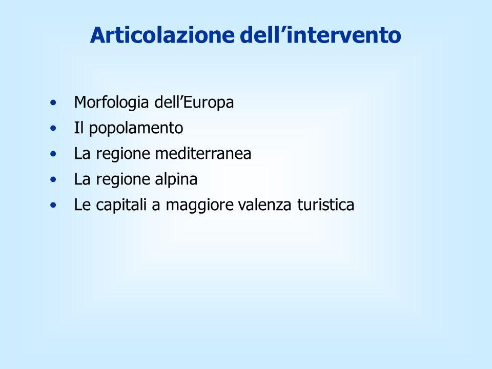 Articolazione dellintervento Morfologia dellEuropa Il popolamento La regione mediterranea La regione alpina Le capitali a maggiore valenza turistica