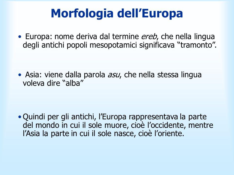 Morfologia dellEuropa Europa: nome deriva dal termine ereb, che nella lingua degli antichi popoli mesopotamici significava tramonto. Asia: viene dalla