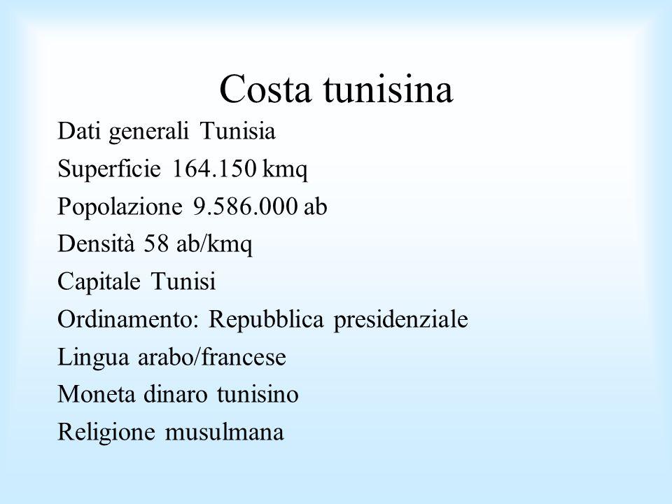 Costa tunisina Dati generali Tunisia Superficie 164.150 kmq Popolazione 9.586.000 ab Densità 58 ab/kmq Capitale Tunisi Ordinamento: Repubblica preside