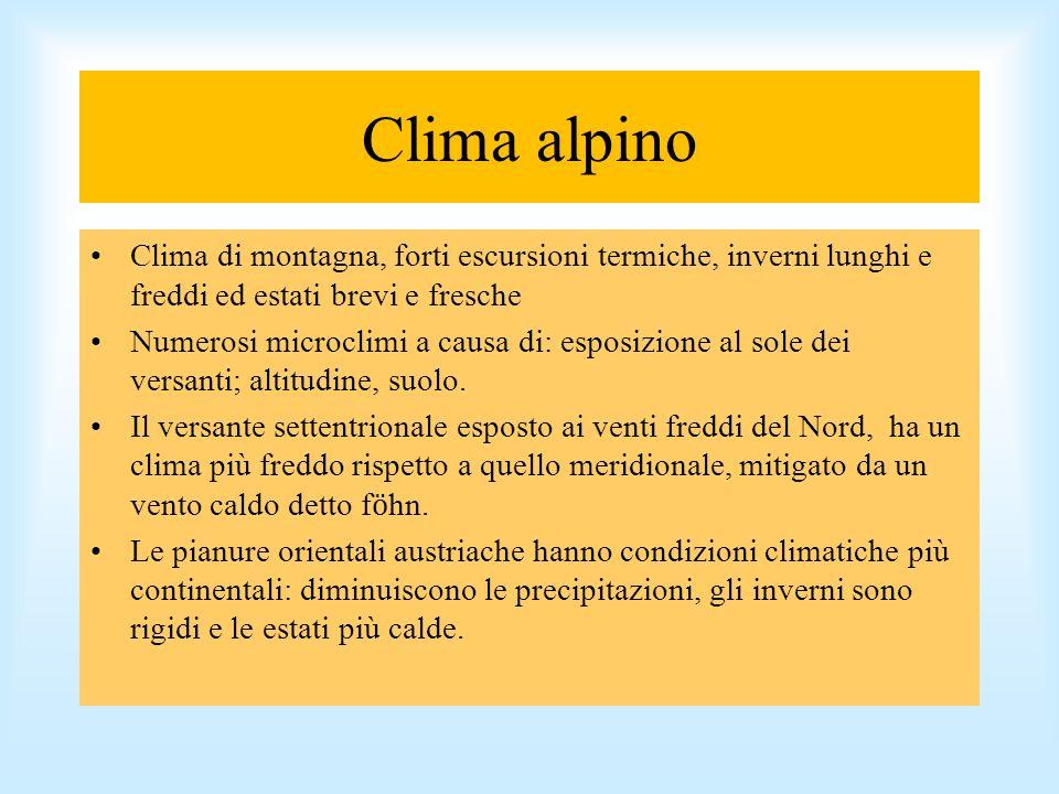 Clima alpino Clima di montagna, forti escursioni termiche, inverni lunghi e freddi ed estati brevi e fresche Numerosi microclimi a causa di: esposizio