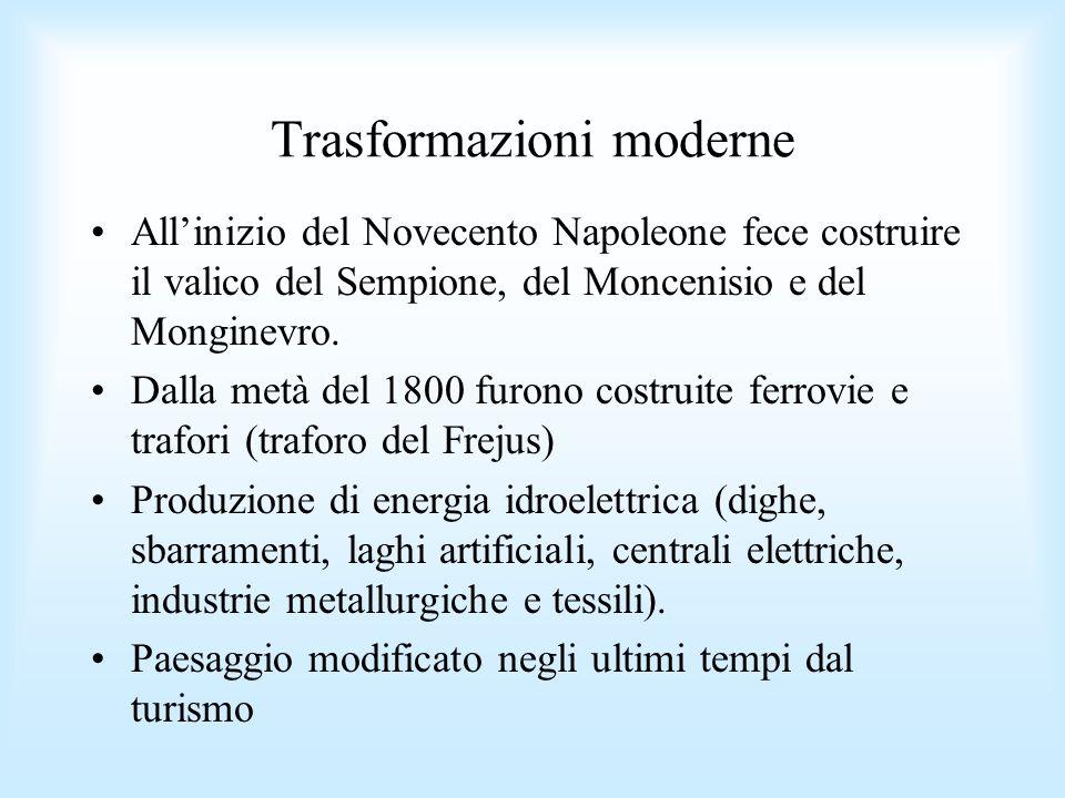 Trasformazioni moderne Allinizio del Novecento Napoleone fece costruire il valico del Sempione, del Moncenisio e del Monginevro. Dalla metà del 1800 f