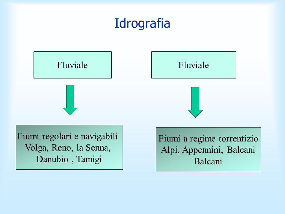 Idrografia Fluviale Fiumi regolari e navigabili Volga, Reno, la Senna, Danubio, Tamigi Fiumi a regime torrentizio Alpi, Appennini, Balcani Balcani