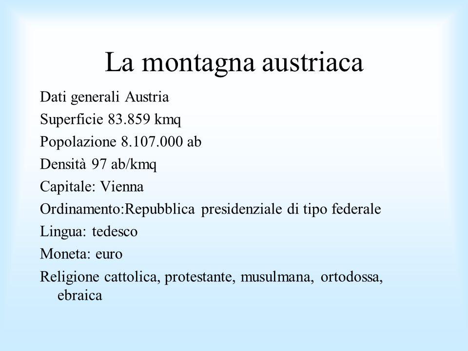 La montagna austriaca Dati generali Austria Superficie 83.859 kmq Popolazione 8.107.000 ab Densità 97 ab/kmq Capitale: Vienna Ordinamento:Repubblica p