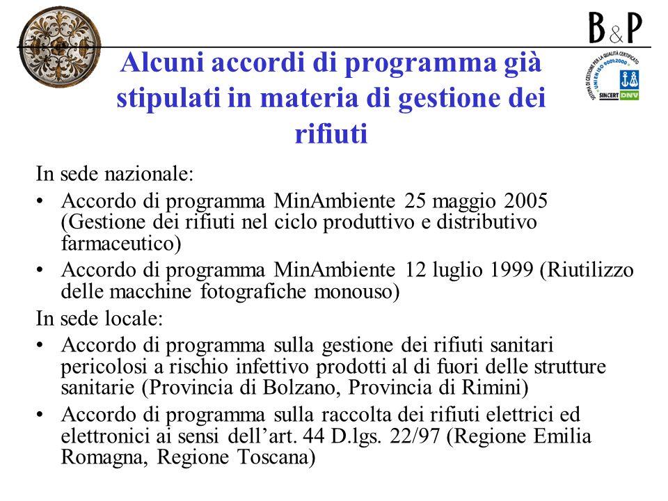 Alcuni accordi di programma già stipulati in materia di gestione dei rifiuti In sede nazionale: Accordo di programma MinAmbiente 25 maggio 2005 (Gesti