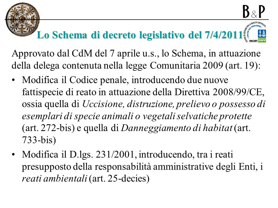 Reati ambientali inclusi nello Schema Nuovi reati di cui agli artt.