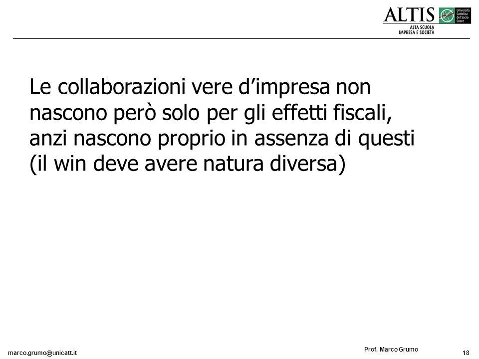 marco.grumo@unicatt.it18 Prof. Marco Grumo Le collaborazioni vere dimpresa non nascono però solo per gli effetti fiscali, anzi nascono proprio in asse