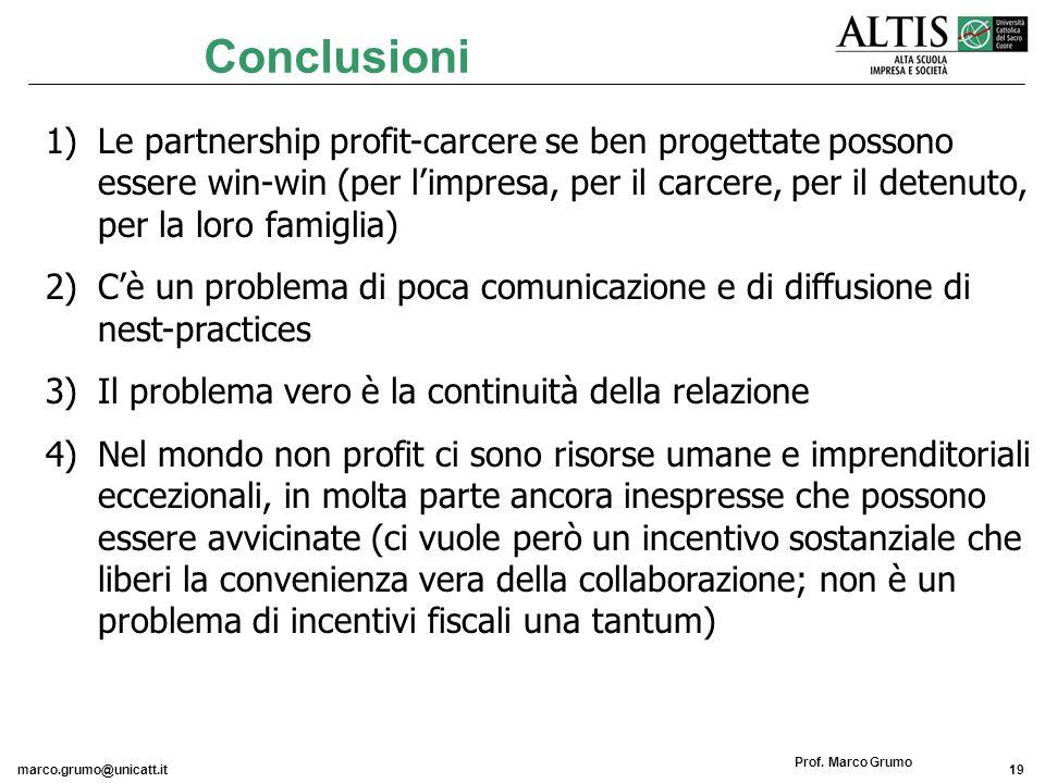marco.grumo@unicatt.it19 Prof. Marco Grumo Conclusioni 1)Le partnership profit-carcere se ben progettate possono essere win-win (per limpresa, per il