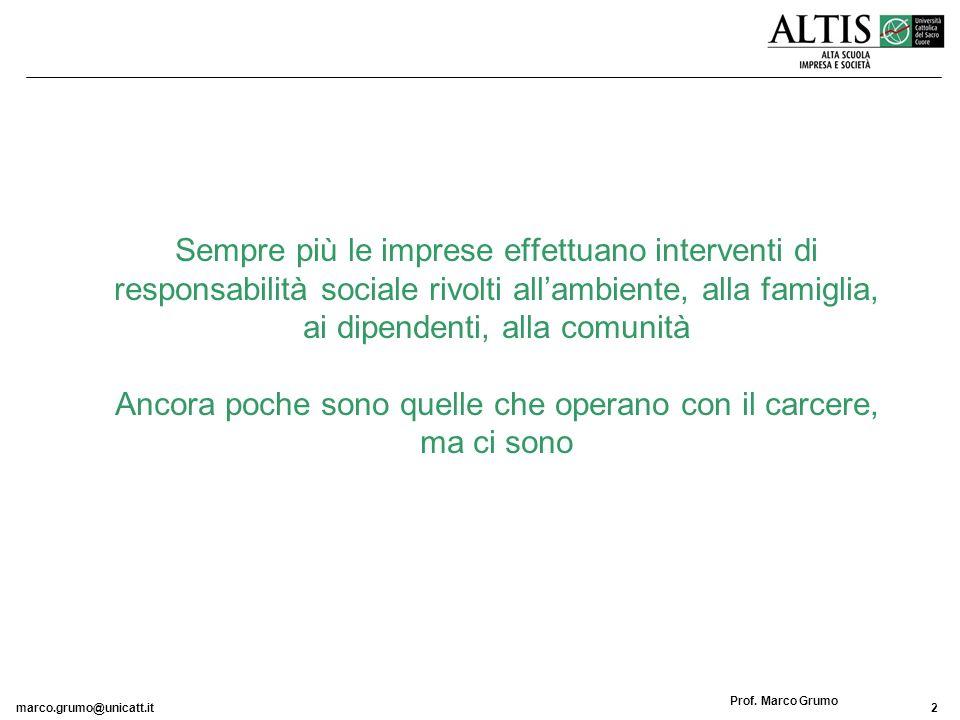 marco.grumo@unicatt.it2 Prof. Marco Grumo Sempre più le imprese effettuano interventi di responsabilità sociale rivolti allambiente, alla famiglia, ai
