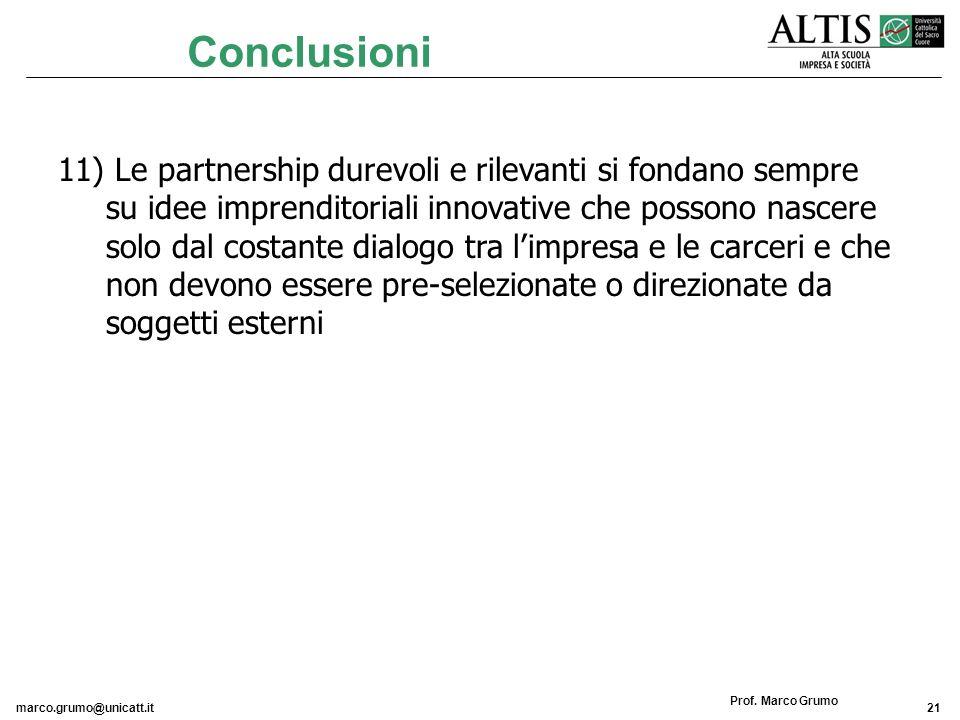 marco.grumo@unicatt.it21 Prof. Marco Grumo 11) Le partnership durevoli e rilevanti si fondano sempre su idee imprenditoriali innovative che possono na