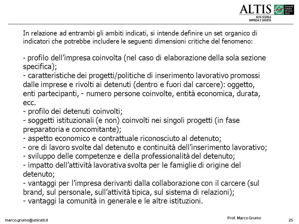 marco.grumo@unicatt.it25 Prof. Marco Grumo In relazione ad entrambi gli ambiti indicati, si intende definire un set organico di indicatori che potrebb