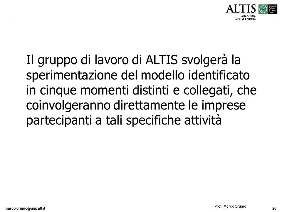 marco.grumo@unicatt.it26 Prof. Marco Grumo Il gruppo di lavoro di ALTIS svolgerà la sperimentazione del modello identificato in cinque momenti distint
