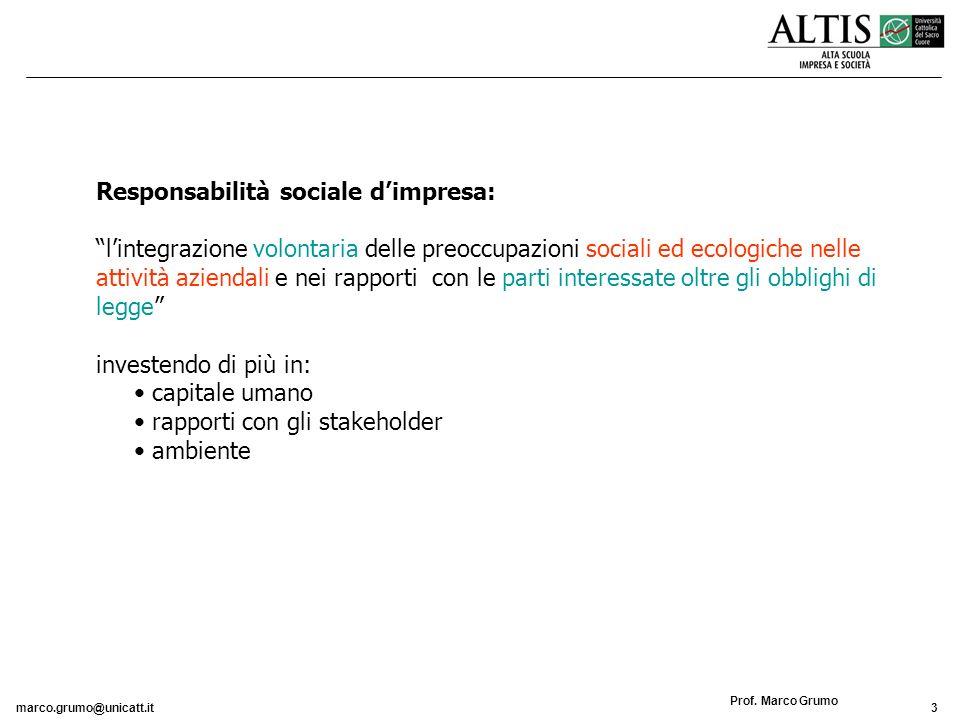 marco.grumo@unicatt.it3 Prof. Marco Grumo Responsabilità sociale dimpresa: lintegrazione volontaria delle preoccupazioni sociali ed ecologiche nelle a