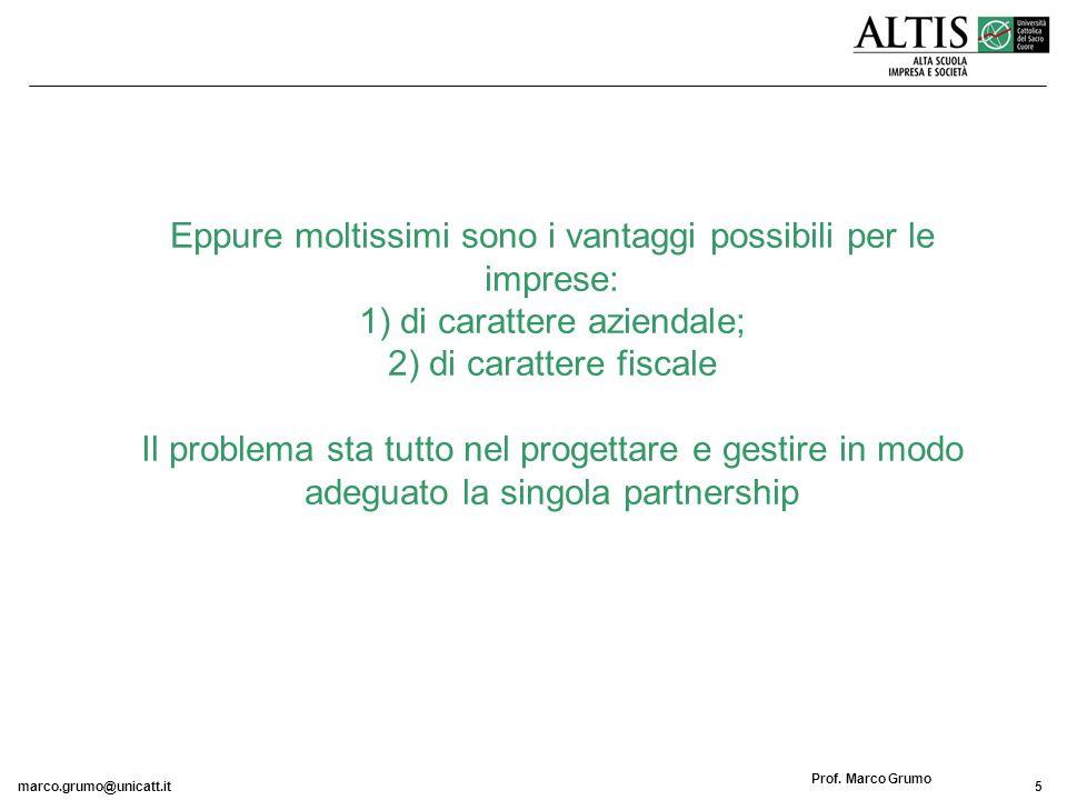 marco.grumo@unicatt.it5 Prof. Marco Grumo Eppure moltissimi sono i vantaggi possibili per le imprese: 1) di carattere aziendale; 2) di carattere fisca