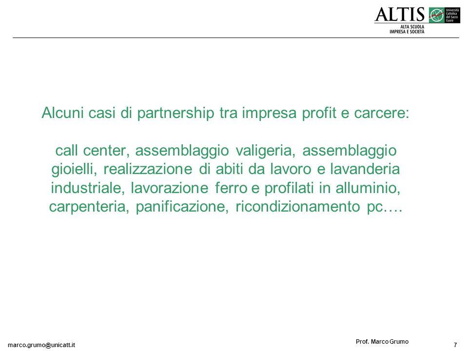 marco.grumo@unicatt.it7 Prof. Marco Grumo Alcuni casi di partnership tra impresa profit e carcere: call center, assemblaggio valigeria, assemblaggio g
