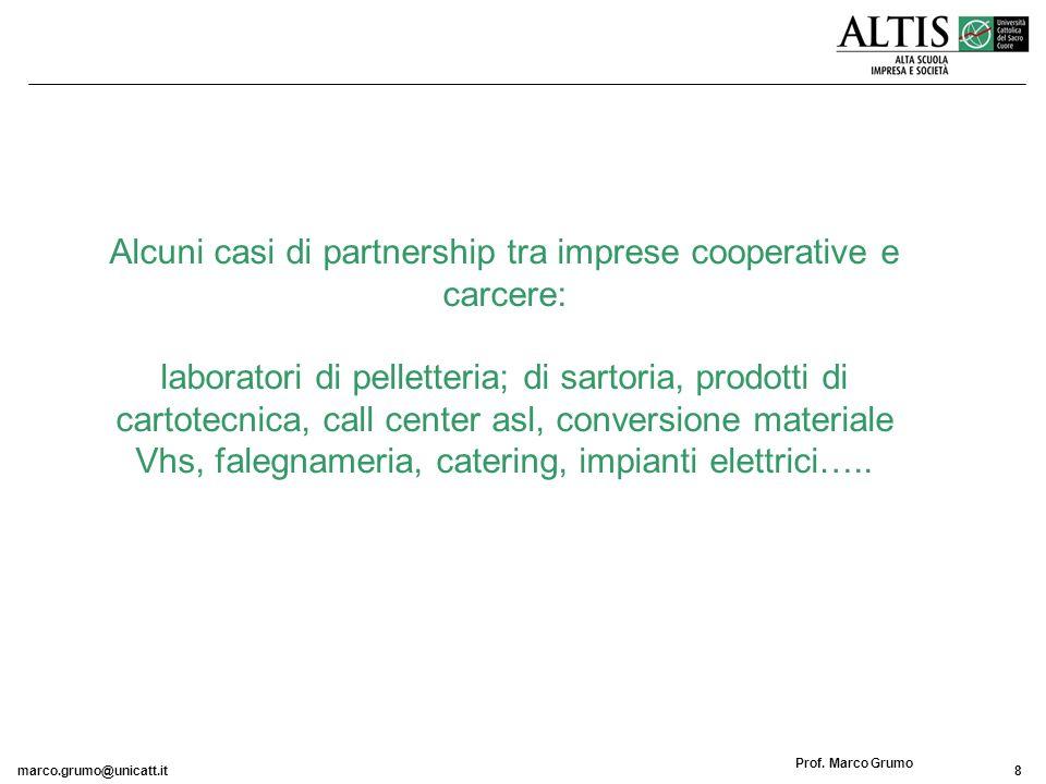marco.grumo@unicatt.it8 Prof. Marco Grumo Alcuni casi di partnership tra imprese cooperative e carcere: laboratori di pelletteria; di sartoria, prodot