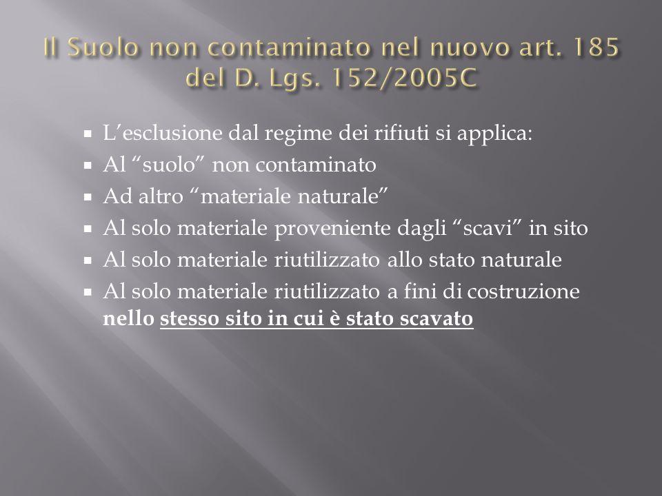 Lesclusione dal regime dei rifiuti si applica: Al suolo non contaminato Ad altro materiale naturale Al solo materiale proveniente dagli scavi in sito