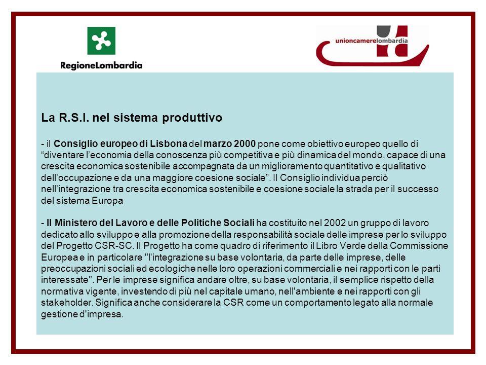 La R.S.I.nel sistema produttivo - Regione Lombardia all art.