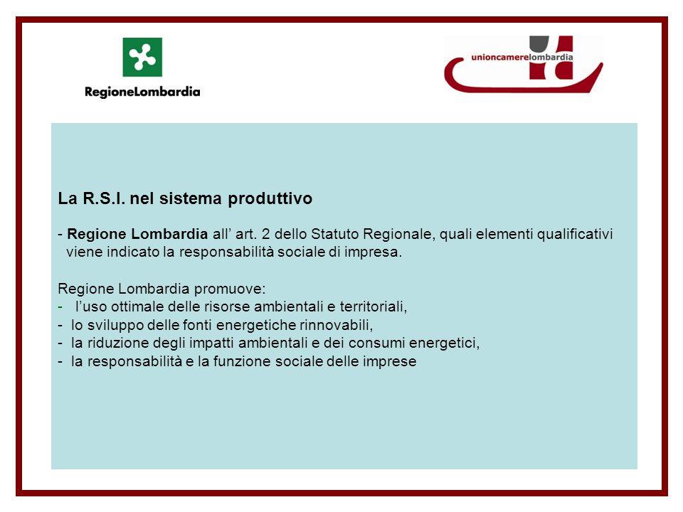 La R.S.I. nel sistema produttivo - Regione Lombardia all art.