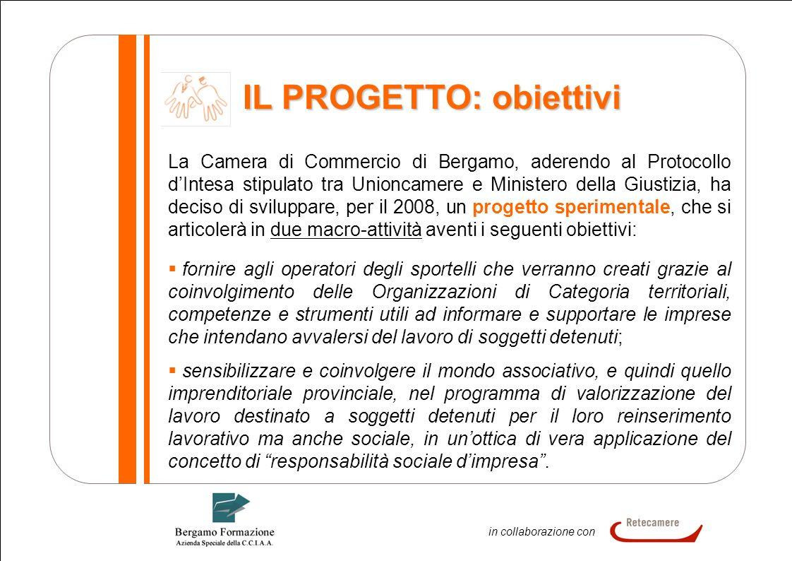 4 In collaborazione in collaborazione con IL PROGETTO: obiettivi La Camera di Commercio di Bergamo, aderendo al Protocollo dIntesa stipulato tra Union