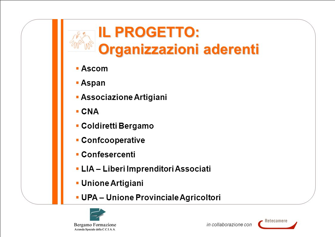 6 In collaborazione in collaborazione con IL PROGETTO: Organizzazioni aderenti Ascom Aspan Associazione Artigiani CNA Coldiretti Bergamo Confcooperati