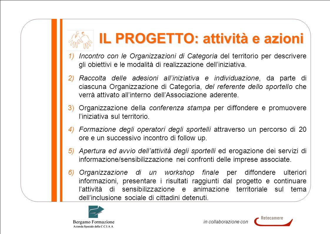 7 In collaborazione in collaborazione con IL PROGETTO: attività e azioni 1)Incontro con le Organizzazioni di Categoria del territorio per descrivere g