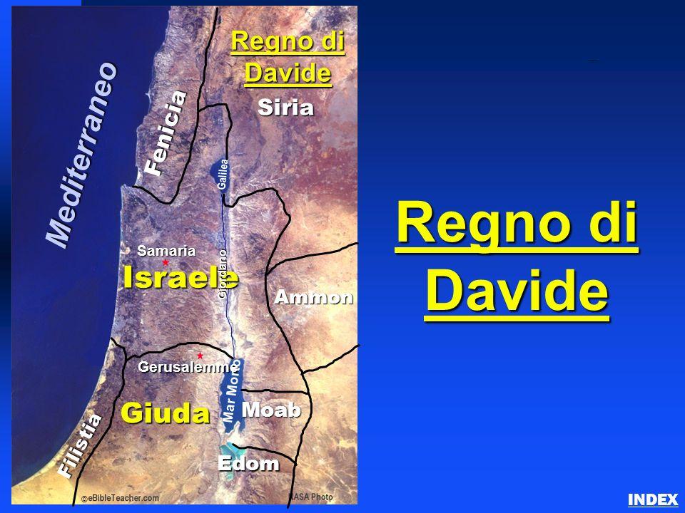 Fenicia Filistia Israele Ammon Moab Giuda Gerusalemme Mar Morto Galilea Giordano © Regno di Davide Edom Siria Samaria Mediterraneo Divided Kingdom of