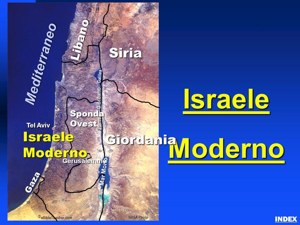 IsraeleModerno Modern Israel INDEX Gaza © Tel Aviv SpondaOvest Giordania Gerusalemme Libano Siria Mediterraneo Mar Morto Galilea Fiume Giordano Israel