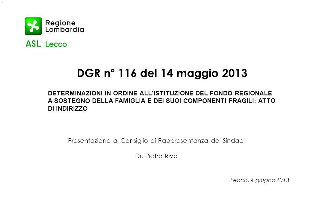 DGR n° 116 del 14 maggio 2013 DETERMINAZIONI IN ORDINE ALL'ISTITUZIONE DEL FONDO REGIONALE A SOSTEGNO DELLA FAMIGLIA E DEI SUOI COMPONENTI FRAGILI: AT