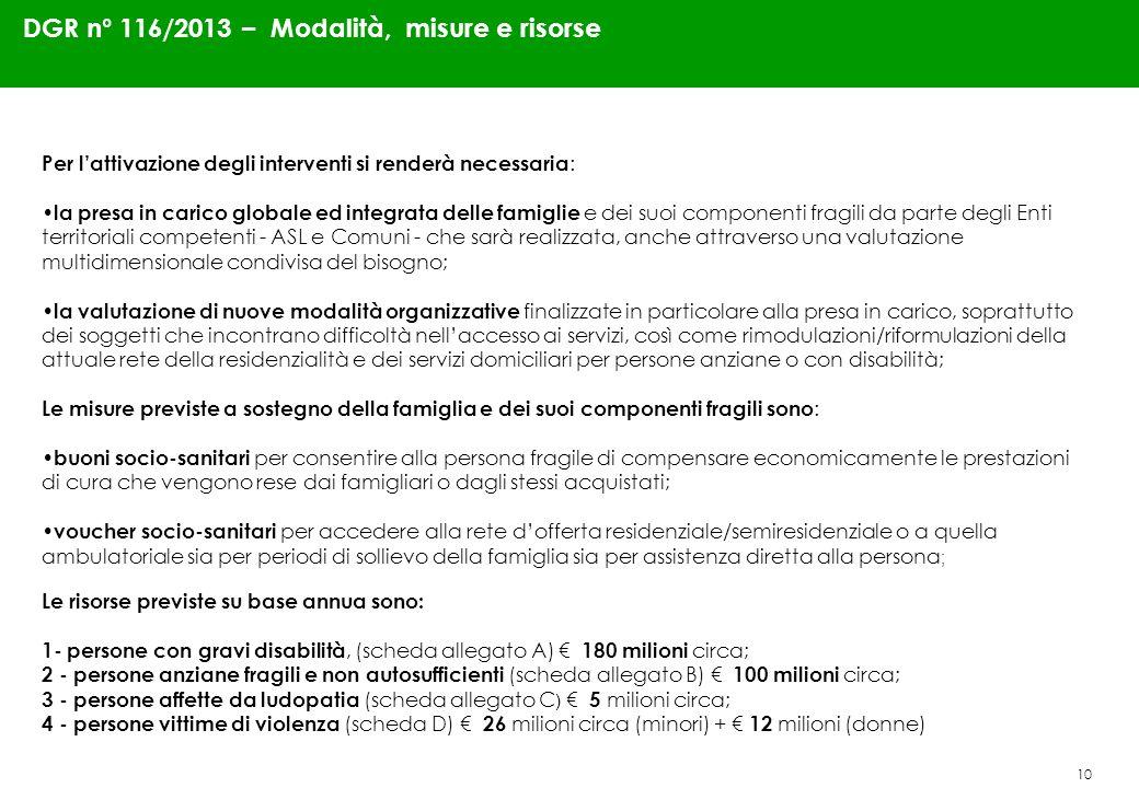 10 DGR n° 116/2013 – Modalità, misure e risorse Per lattivazione degli interventi si renderà necessaria : la presa in carico globale ed integrata dell