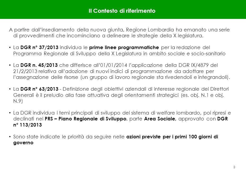 2 Il Contesto di riferimento A partire dallinsediamento della nuova giunta, Regione Lombardia ha emanato una serie di provvedimenti che incominciano a