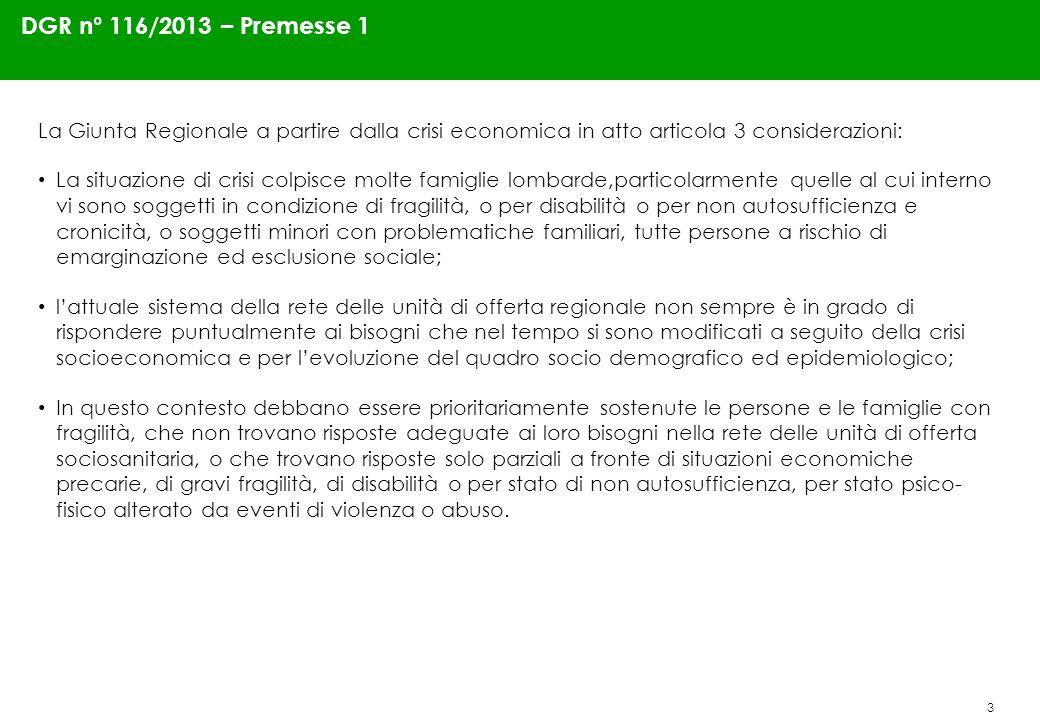 3 DGR n° 116/2013 – Premesse 1 La Giunta Regionale a partire dalla crisi economica in atto articola 3 considerazioni: La situazione di crisi colpisce