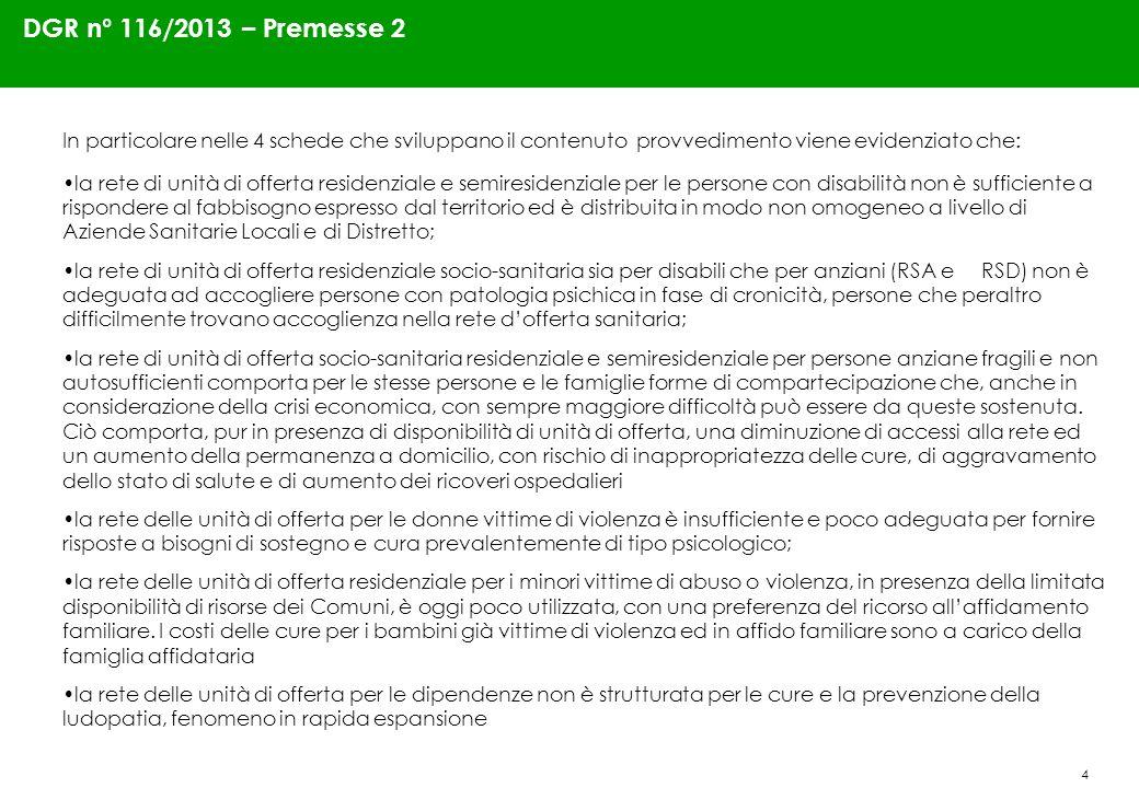 4 DGR n° 116/2013 – Premesse 2 In particolare nelle 4 schede che sviluppano il contenuto provvedimento viene evidenziato che: la rete di unità di offe