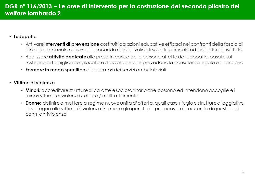 9 DGR n° 116/2013 – Le aree di intervento per la costruzione del secondo pilastro del welfare lombardo 2 Ludopatie Attivare interventi di prevenzione