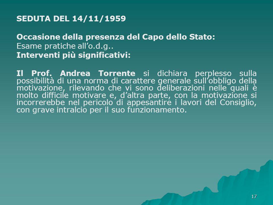 17 SEDUTA DEL 14/11/1959 Occasione della presenza del Capo dello Stato: Esame pratiche allo.d.g.. Interventi più significativi: Il Prof. Andrea Torren