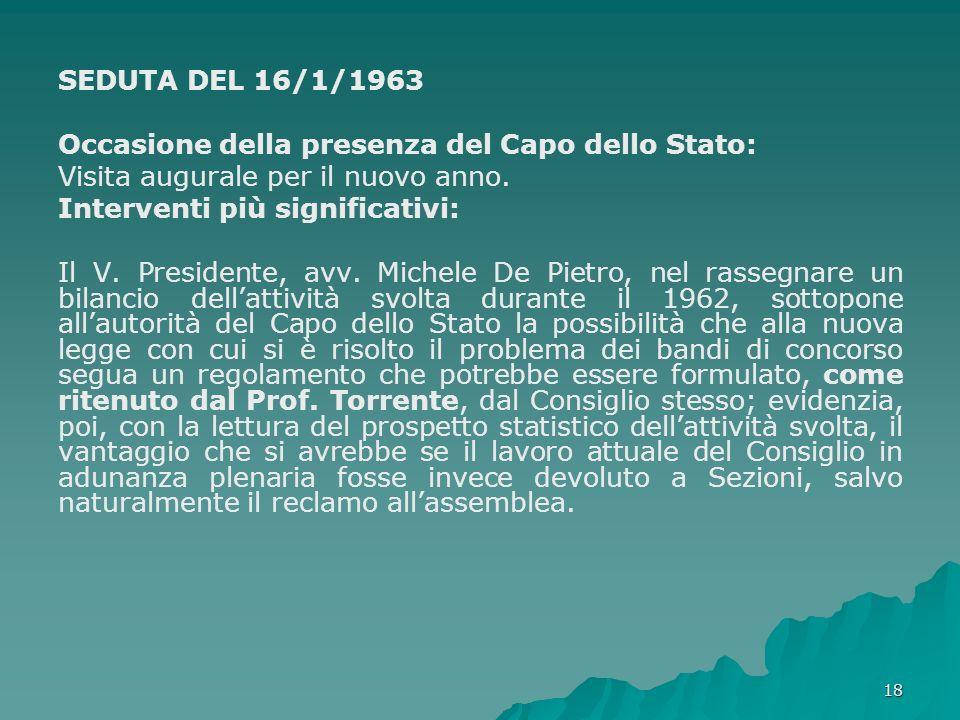 18 SEDUTA DEL 16/1/1963 Occasione della presenza del Capo dello Stato: Visita augurale per il nuovo anno.