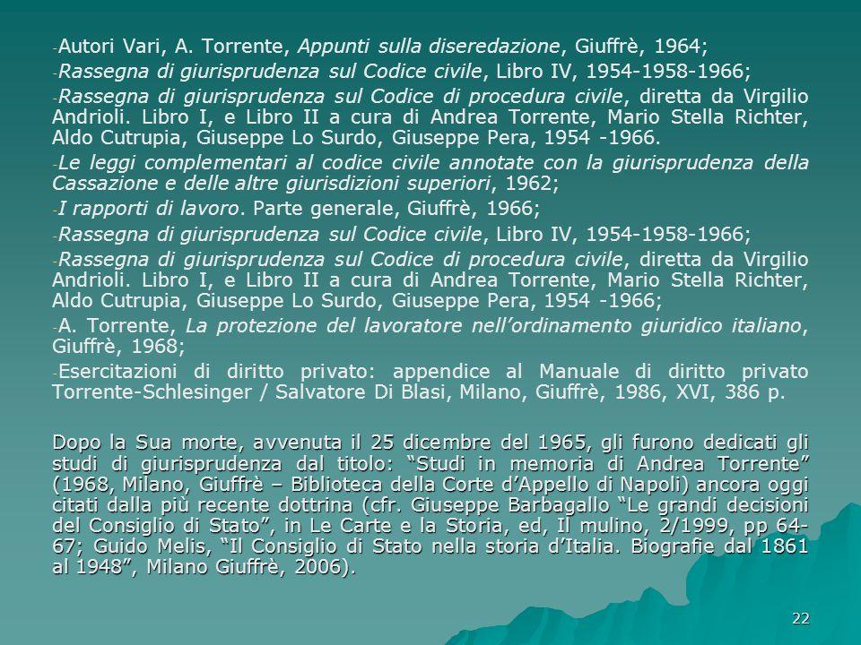 22 - - Autori Vari, A. Torrente, Appunti sulla diseredazione, Giuffrè, 1964; - - Rassegna di giurisprudenza sul Codice civile, Libro IV, 1954-1958-196